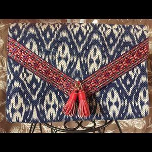 JUSTFAB Oversized Tassled Ikat Clutch ✨ EUC ✨